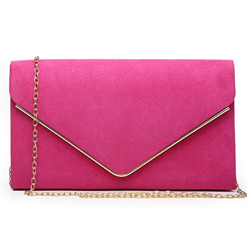 Dasein Ladies' Velvet Evening Clutch Handbag Formal Party Clutch For Women With Chain Strap (Rose)