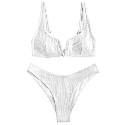 ZAFUL Damen Bikini Set, Zweiteilige Gerippter Bikini-Oberteil mit V-Verkabelung High Cut Bademode Sexy Swimsuit Sommer (Weiß 1, S)
