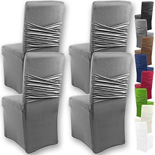 """Gräfenstayn 4pcs Fundas para sillas elásticas Victoria - respaldos Redondos y angulares - Paquete Benefit - Ajuste bi-elástico con Sello Oeko-Tex Standard 100:""""Confianza verificada (Antracita)"""