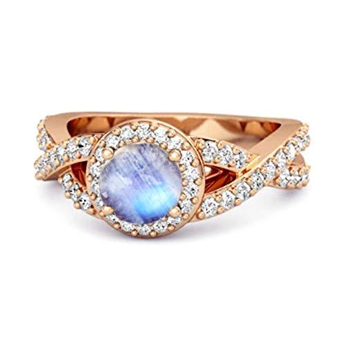 Shine Jewel Multi Elija su Piedra Preciosa Solitaire Accents Anillo Infinito Chapado En Oro Rosa De Plata De Ley 925 De 0.25 Quilates (9, Piedra de la Luna)