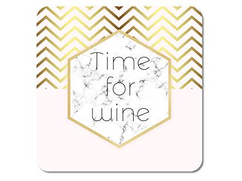 Interluxe LED Untersetzer - Time for Wine in Marmor & Gold-Optik - leuchtender Getränkeuntersetzer als Tischdeko für Hochzeit, Geburtstag, Mädelsabend