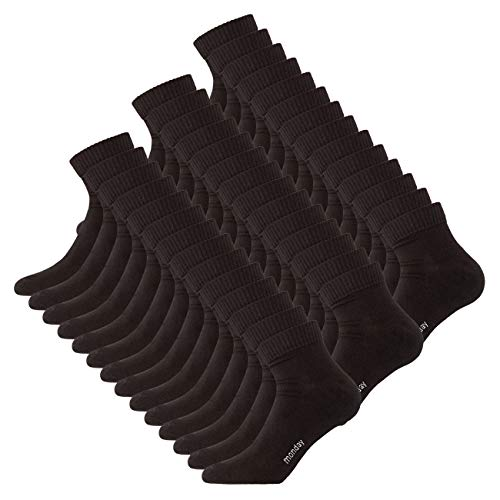 DAILYSOXX Herren Quarter Socken Everyday Schwarz 7er 14er oder 21er Pack kurze Sportsocken Baumwolle Gummibund elastisch Sport Freizeit, Größe:43-46, Farbe:Schwarz - 21er Pack