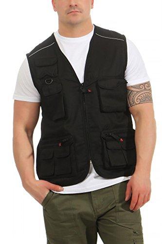 Mivaro Herren Safari-Weste mit vielen praktischen Taschen, funktionale Arbeitsweste, Outdoor-Weste, Größe:M, Farbe:Schwarz