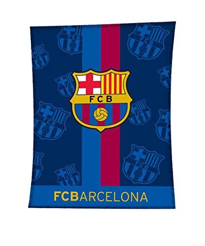 Asditex Manta Rachel F.C Barcelona 130x170 - Manta de Viaje - Estampado Fondo Azul con el Escudo del Barça