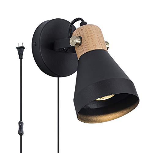Aplique de pared enchufable moderno con interruptor de encendido / apagado, lámpara de pared con acabado en madera y negro mate, base...