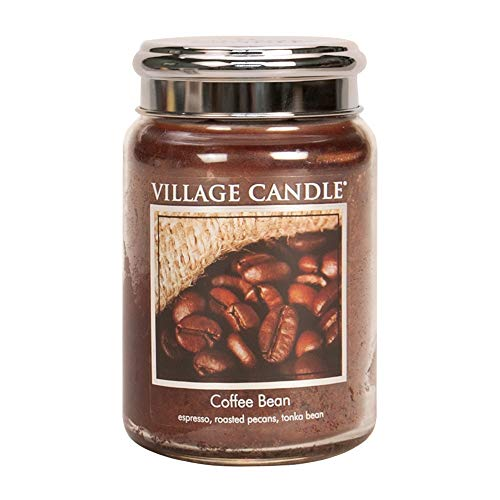 Village Candle Coffee Bean 26 oz Large Glass Jar Scented Candle, 21.25 net oz Kerze, Glas, braun