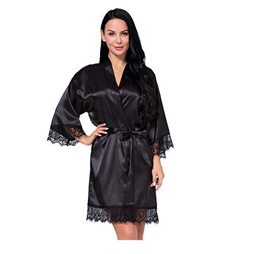 Women's Satin Silk Robe in Lace Stitching Sexy V-Necked Pajamas Kimono Nightgown Bridesmaids Sleepwear (Black, L)