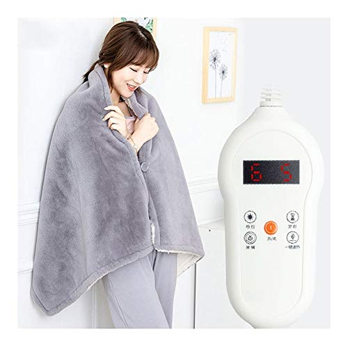 TRPYA Electric Blanket, 7 Heat Settings Fast-Heating Lazy Blanket Shawl Nap Cloak Thicken Keep Warm, Office Plush Autumn and Winter Flannel Heated Electric Blanket (Color : Gray)