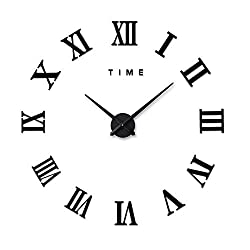 Artensky Wall Clock 3D DIY Large Roman Numerals Vintage Acrylic Stickers Mirror Home Decoration (Black)