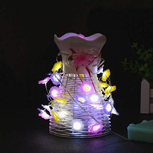 Wffo Guirnalda de luces de hadas con diseño de flores, 40 ledes de 3 m con mando a distancia para decoraciones, para patio, césped, jardín, boda, fiesta, decoración de Navidad