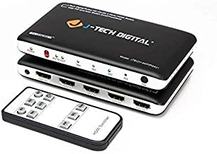 J-Tech Digital 4K@30HZ 4-Port HDMI Switch with PIP, IR, HDCP1.4 Wireless Remote Control, and Auto Switch ON/OFF Functions with Control4 Driver Available