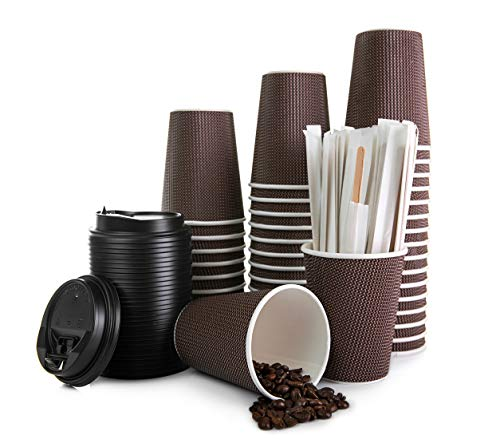 Takeaway Coffee Cups - Triple Ripple Wall Insulated Cups with Leakproof...