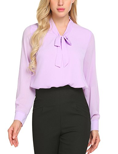 ACEVOG Office Shirt Bow Tie Neck Long Sleeve Lilac Tops and Blouses for Women,Lavender,XX-Large