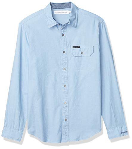 Calvin Klein Jeans Men's Long Sleeve Denim Shirt, Rich Indigo, MEDIUM