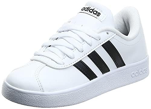 adidas Unisex Kids Vl Court 2.0 Low Top Sneakers, White Footwear White Core Black Footwear White 0, 2 UK