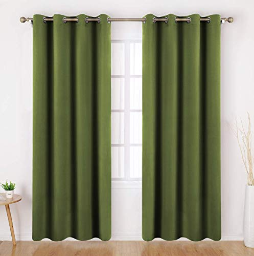 HOMEIDEAS Olive Green Blackout Curtains 52 X 84 Inch Long Set of 2 Panels Room Darkening Bedroom Curtains, Thermal Grommet Light Bolcking Window Curtains for Living Room