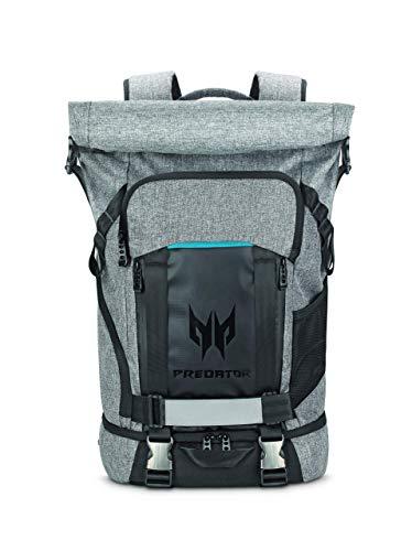 Predator Gaming Rolltop Rucksack (geeignet für bis zu 15,6 Zoll Notebooks, Zusatzfächer, wasserdicht, 35,5 Liter Fassungsvermögen, das ganze Equipment in einer Tasche) grau
