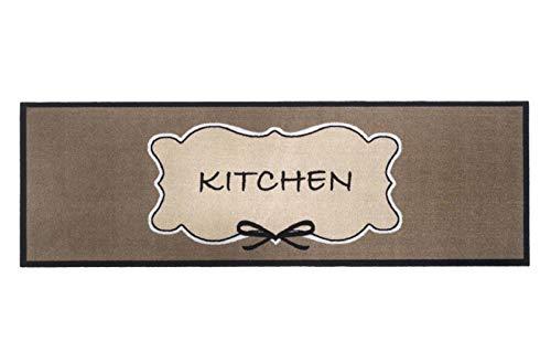 Bavaria Home Style Collection Küchenteppich Küchenläufer Küchenteppich Läufer Kitchen Romantik für Ihre Küche | Der Läufer ist rutschfest und waschbar |Küchen Deko Matte | Braun Größe 50x150 cm