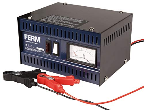 FERM BCM1021 Cargador de batería de metal, Baterías compatibles 20-75Ah