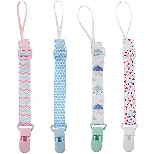 Zeaye 4 piezas de cadena de chupete para bebé, cadena de chupete para niños y niñas, cuerda de chupete con clip de animal,adecuada para todos los juguetes de dentición de bebé con chupete,baby shower