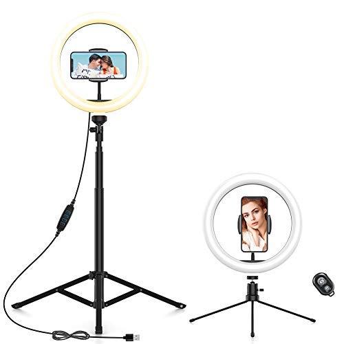 """Anozer LED Ringlicht mit Stativ - Fernbedienung 2 alternativen Stativen, 10.2\"""" Selfie Ringleuchte mit Handyhalter, dimmbare Selfie Licht für YouTube TikTok Live-Stream Self-Porträt der Videoaufnahme"""