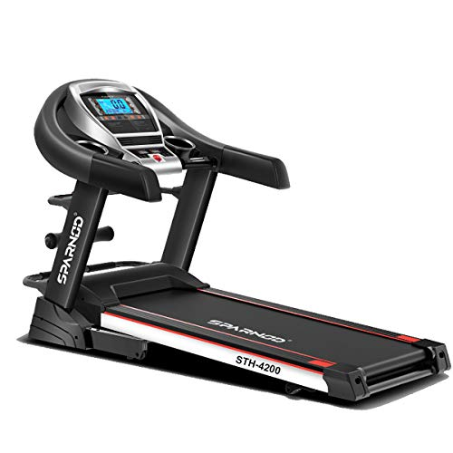 SPARNOD FITNESS STH-4200 (4.5HP Peak) Automatic Treadmill (Free Installation Service) - Foldable Treadmill for Home Use with Multifunction and Auto-Incline