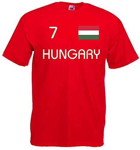 World-of-Shirt Herren T-Shirt Ungarn EM 2016 Trikot Nr 7|rot-XXL