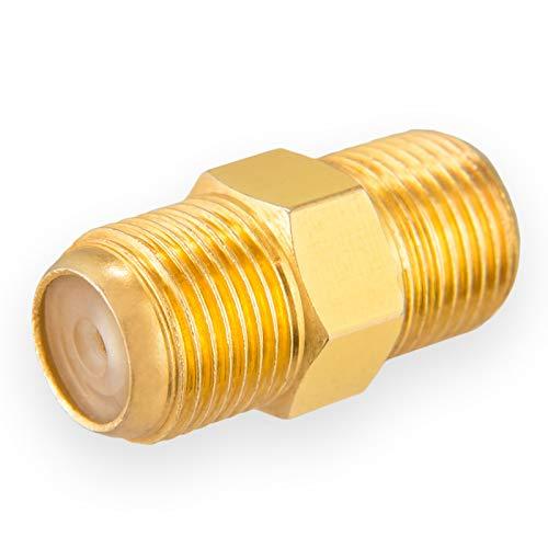 1x Profi F-Verbinder Buchse Buchse von HB-DIGITAL aus Kupfer Vergoldet HQ breite Mutter für F-Stecker jeder Größe 4 - 8,2mm für Koaxial Antennenkabel Sat Kabel BK Anlagen