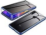 CHENYING Anti-pío Funda para Xiaomi Redmi Note 7 Pro Case Magnética Anti-Spy Cubierta Doble Cara Vidrio Templado Cover Anti Espía Privacidad Cubierta Marco de Metal Protección de 360 Grados Caso,Azul