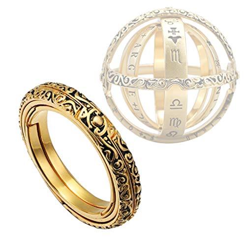 AMhomely 2019 Ring/Gedenkring - Astronomischer Kugelring/Sky Culture Ring - Öffnender Ring Astronomical Globe Ring Vintage Wissenschaft Schmuck - Mütte Kette Schmuck Jewelry Anhänger Halskette (Gold)