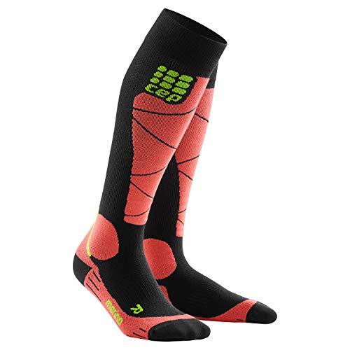 CEP - SKI Merino Socks für Damen | Skisocken mit Kompression und Merinowolle in schwarz/orange | Größe II