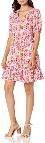 Lucky Brand Women s Short Sleeve V Neck Ditsy Floral Mila Wrap Dress Pink Multi M product image