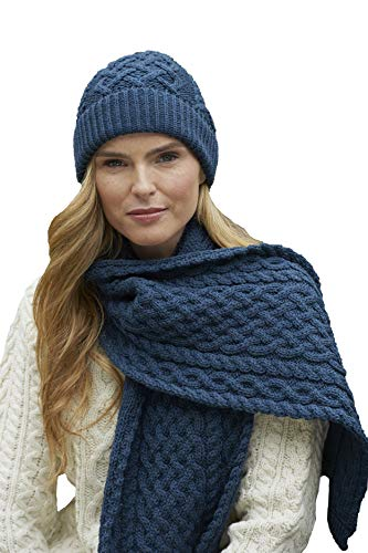 Aran Crafts Irish Soft Cable Knitted Wool Trellis Pattern Scarf (X4840-MABL) Mallard Blue