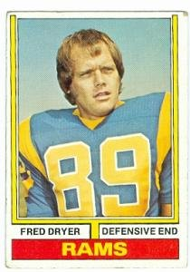 Fred Dryer football card (Los Angeles Rams) 1974 Topps #471