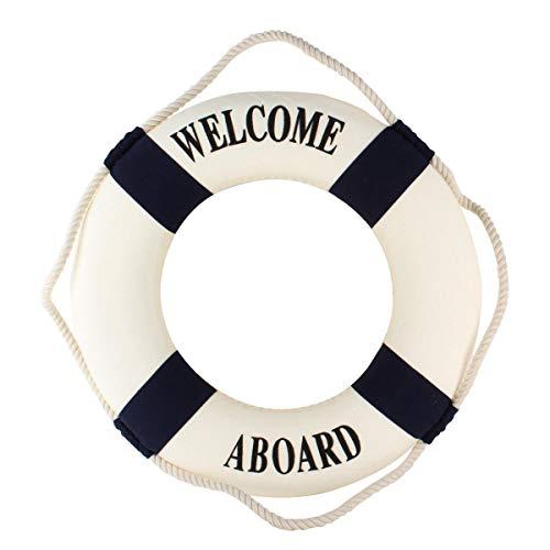 VOSAREA Decoración náutica de Estilo mediterráneo Nordic Espuma Boya Signo de Bienvenida Colgar en la Pared Decoración del hogar (Azul)