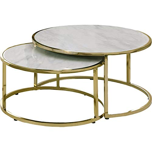Homary Round Coffee Table White With Sto Buy Online In El Salvador At Desertcart