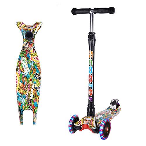 Yuanj Scooter Kinder Roller, Dreiradscooter für Mädchen und Jungen, Höhenverstellbarer und Abnehmbarer Kinderscooter, mit PU Räder/Graffiti Kinder Scooter (Grün + schwarz, 3-13 Years Old)