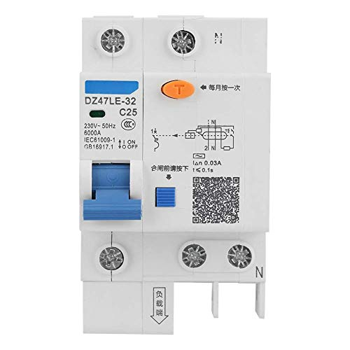 DZ47LE-32 - Interruttore automatico magnetotermico, 230V 25A, 50Hz,1P+N,6000A