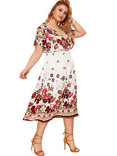 Milumia Women Plus Size Surplice V Neck Floral Boho High Waist Dress White 3X