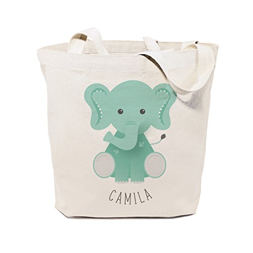 The Cotton & Canvas Co. Personalized Elephant Beach, Shopping and Travel Reusable Tote and Handbag for Kids, Teens, Adults