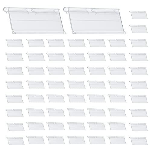 Hwtcjx porta precios, Soportes de Etiqueta de Precio, 60 piezas portaprecios, Hecho de material de PVC, duradero, fácil de instalar, alta transparencia, para supermercados, papelerías (42 x 80mm)