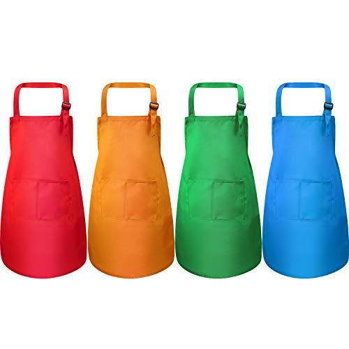 Yaomiao 4 Stücke Kinderschürze mit Tasche Kinder Verstellbare Kochschürze zum Kochen Backen Malerei (Grün, Orange, Rot, Blau M für 7-13 Jahre)