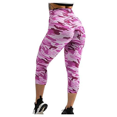 Xniral Damen Yoga Hosen 3/4 Tarnen Kurzhose Caprihose Hohe Taille Workout Fitness Leggings rutschfeste Basic-Hose(Lila,3XL)