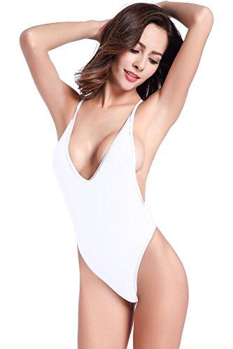 SHEKINI Damen Einteiliger Badeanzug Push up String Tanga Bikini Schwimmanzug Monokini (Large, Weiß)