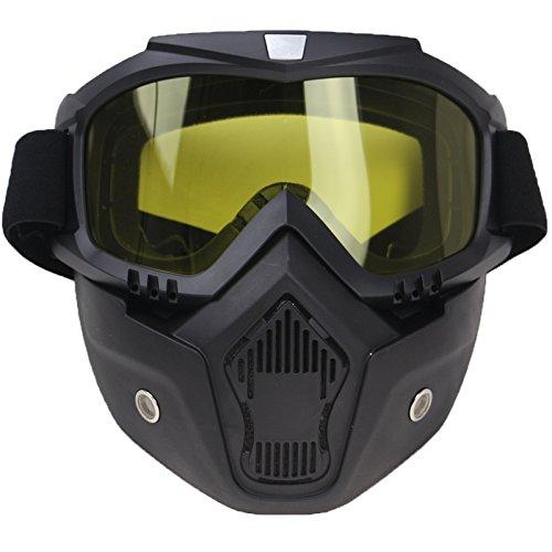 Kampre Motorrad-Gesichtsmaske mit Brillenhelm Beschlagfreier, winddichter Jethelm für Motocross, Skifahren, Reiten und Outdoor-Sportarten