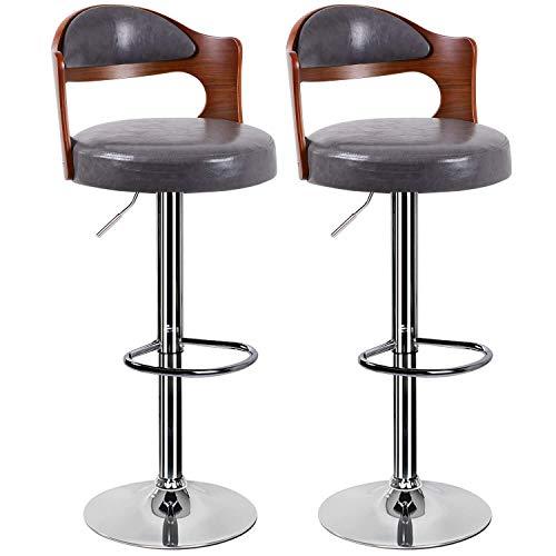 Barkruk 2-delige set voor keukens met bekleding chroom voetensteun draaibaar gaskabel lift teak barkruk lederen ontbijt voor diningroom lokken keuken meubels grijs.