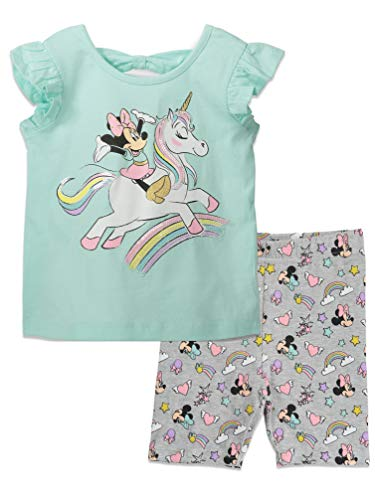 Disney Minnie Mouse Toddler Unicorn Rainbow T-Shirt and Bike Shorts Set 4T
