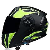Casco Integral Moto Multifunció Bluetooth Certificación ECE Personalidad Transpirable Y Confortable Casco Modular Abatible Moto Cascos Visera Solar Doble Antivaho Tipo Abatible N,M 55-56CM