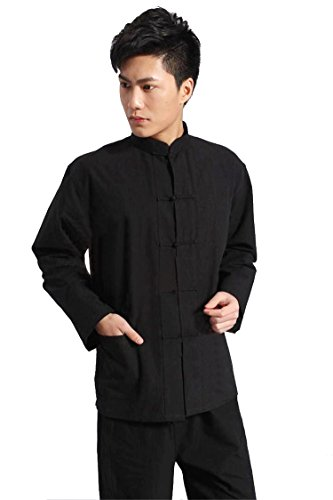 ZooBoo Traditional Long Sleeve Tang Kung Fu Uniform Men's Shirt (Black, M)