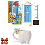 Ratoncito Pérez Puerta mágica Azul + Taza Infantil + Escalera + Plato + Queso + Felpudo + Llave + Dibujo Fondo de Puerta + Postal de Felicitación